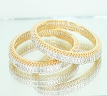 Diamond Eternity Bangle Pair 7.15 Ct Yellow Gold Natural Certified