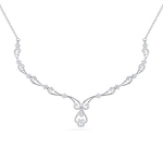 Necklace for Womens 2.65Ct Real Diamond solid Gold Wedding Natural Certified