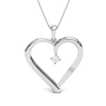 Heart Diamond Pendant 0.02 Ct Round Shape Sterling Silver Valentine