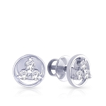 Diamond Earrings 0.12 Ct Round Shape Sterling Silver Wedding Anniversary
