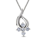 diamond Wedding Pendant  0.06 Ct Round Shape Sterling Silver Anniversary