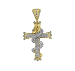 Diamond Cross Pendant Natural 2.27 Carats Diamond Solid 14Kt Yellow Gold Hip Hop Pendant 72Mm