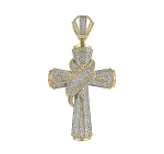 Cross Pendant Natural 2.44 Carats Diamond Solid 14Kt Yellow Gold Hip Hop Pendant 75Mm
