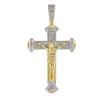 Diamond Cross Pendant Natural 0.67 Carats Diamond Solid 14Kt Yellow Gold Hip Hop Pendant 51.40Mm