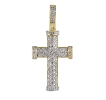 Mens Diamond Cross Pendant Natural 0.58 Carats Diamond Solid 14Kt Yellow Gold Hip Hop Pendant 40Mm