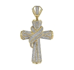 Cross Pendant Natural 2.44 Carats Diamond Solid 10Kt Yellow Gold Hip Hop Pendant 75Mm