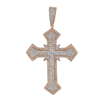 Diamond Cross Pendant Natural 1.77 Carats Diamond Solid 14Kt Rose Gold Hip Hop Pendant 65.40Mm