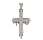 Mens Gold Cross Pendant Natural 1.71 Carats Diamond Solid 10Kt Rose Gold Hip Hop Pendant 63Mm