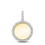 Fanuk Memory Hip Hop Gold Pendant Natural Round 0.63 Carats Diamond Solid 10Kt Yellow Gold Charm Pendant