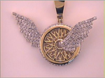 Wings Charm Mens Diamond Pendant Natural Round 1.3 Carats Diamond Solid 10Kt Yellow Gold Charm Pendant