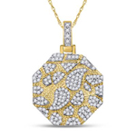 Hip Hop Diamond Pendant Natural Round 0.5 Carats Diamond Solid 10Kt Yellow Gold Charm Pendant