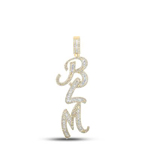Blm Mens Pendant Natural Round/Baguette 1.28 Carats Diamond Solid 10Kt Yellow Gold Charm Pendant