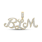 Blm Hip Hop Pendant Natural Round/Baguette 1.54 Carats Diamond Solid 10Kt Yellow Gold Charm Pendant