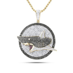 Shark Hip Hop Pendant Natural Round 4.84 Carats Diamond Solid 10Kt Yellow Gold Charm Pendant