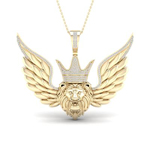 Lion Face Mens Diamond Pendant Natural Round 0.5 Carats Diamond Solid 10Kt Yellow Gold Charm Pendant