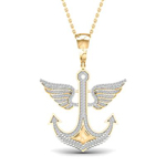 Anchor Mens Gold Pendant Natural Round 0.5 Carats Diamond Solid 10Kt Yellow Gold Charm Pendant