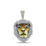 Lion Face Mens Pendant Natural Round 1.14 Carats Diamond Solid 10Kt Yellow Gold Charm Pendant
