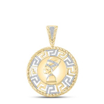 Nefertiti Hip Hop Pendant Natural Round 11.35 Carats Diamond Solid 10Kt Yellow Gold Charm Pendant