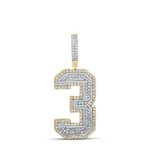 Number Three Hip Hop Gold Pendant Natural Round 1.17 Carats Diamond Solid 10Kt Yellow Gold Charm Pendant
