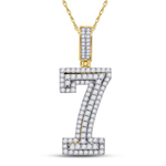 7 Hip Hop Diamond Pendant Natural Round 1.26 Carats Diamond Solid 10Kt Yellow Gold Charm Pendant