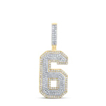 6 Mens Diamond Pendant Natural Round 1.4 Carats Diamond Solid 10Kt Yellow Gold Charm Pendant