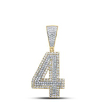 4 Mens Pendant Natural Round 0.75 Carats Diamond Solid 10Kt Yellow Gold Charm Pendant