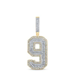 Number 9 Hip Hop Pendant Natural Round 1.4 Carats Diamond Solid 10Kt Yellow Gold Charm Pendant