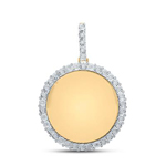 Memory Hip Hop Gold Pendant Natural Round 1.18 Carats Diamond Solid 10Kt Yellow Gold Charm Pendant
