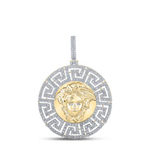 Versace Logo Mens Gold Pendant Natural Round 13.65 Carats Diamond Solid 10Kt Yellow Gold Charm Pendant