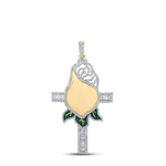 Cross With Rose Flower Hip Hop Diamond Pendant Natural Round 2.43 Carats Diamond Solid 10Kt Yellow Gold Charm Pendant