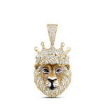 Lion Face Mens Diamond Pendant Natural Round 1.82 Carats Diamond Solid 10Kt Yellow Gold Charm Pendant
