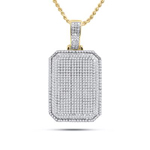 Dog Tag Hip Hop Gold Pendant Natural Round 1.75 Carats Diamond Solid 10Kt Yellow Gold Charm Pendant