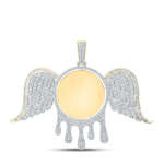Mirror Round Wing Hip Hop Diamond Pendant Natural Round 4.75 Carats Diamond Solid 10Kt Yellow Gold Charm Pendant