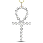Ankh Cross Mens Gold Pendant Natural Round 0.77 Carats Diamond Solid 10Kt Yellow Gold Charm Pendant