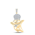 Number 2 Mens Pendant Natural Round 1.21 Carats Diamond Solid 10Kt Yellow Gold Charm Pendant
