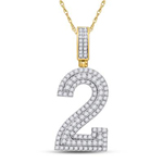 Number 2 Hip Hop Pendant Natural Round 1.44 Carats Diamond Solid 10Kt Yellow Gold Charm Pendant