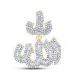 Allah Islam Mens Pendant Natural Round 1.6 Carats Diamond Solid 10Kt Yellow Gold Charm Pendant