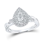 Pear/Round Engagement Rings Natural  0.3 Carats Diamond Solid 14Kt White Gold