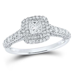 Princess Diamond Engagement Rings Natural  1 Carats Diamond Solid 14Kt White Gold