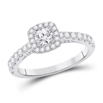 Round/Round Engagement Rings For Women Natural  0.33 Carats Diamond Solid 14Kt White Gold