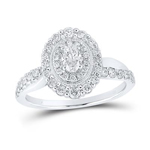 Oval/Round Engagement Rings Natural  0.24 Carats Diamond Solid 14Kt White Gold