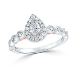 Pear/Round Diamond Engagement Rings Natural  0.28 Carats Diamond Solid 14Kt White Gold