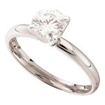 Gold Engagement Rings Natural Round 0.46 Carats Diamond Solid 14Kt White Gold