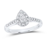 Pear/Round Engagement Rings Natural  0.2 Carats Diamond Solid 14Kt White Gold