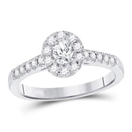 Oval/Round Diamond Engagement Rings Natural  0.2 Carats Diamond Solid 14Kt White Gold
