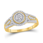 Gold Engagement Rings Natural Round 0.19 Carats Diamond Solid 10Kt Yellow Gold