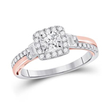 Round/Baguette Diamond Engagement Rings Natural  0.16 Carats Diamond Solid 10Kt White Gold
