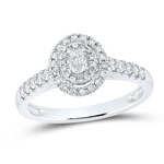 Oval/Round Engagement Rings Natural  0.17 Carats Diamond Solid 14Kt White Gold