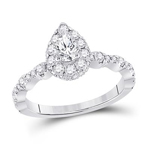 Pear/Round Engagement Rings Natural  0.4 Carats Diamond Solid 14Kt White Gold