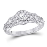 Round Diamond Engagement Rings Natural  0.33 Carats Diamond Solid 14Kt White Gold